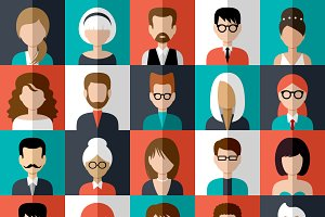 Set of flat icons with people