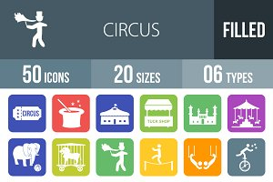 50 Circus Flat Round Corner Icons