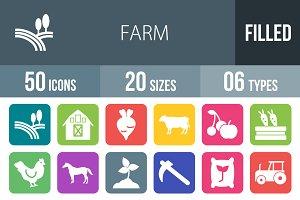 50 Farm Flat Round Corner Icons