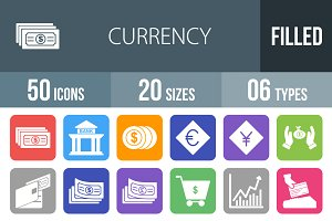 50 Currency Flat Round Corner Icons