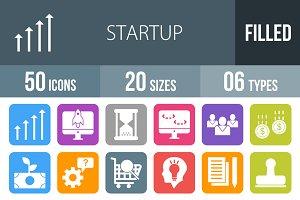 50 Startup Flat Round Corner Icons