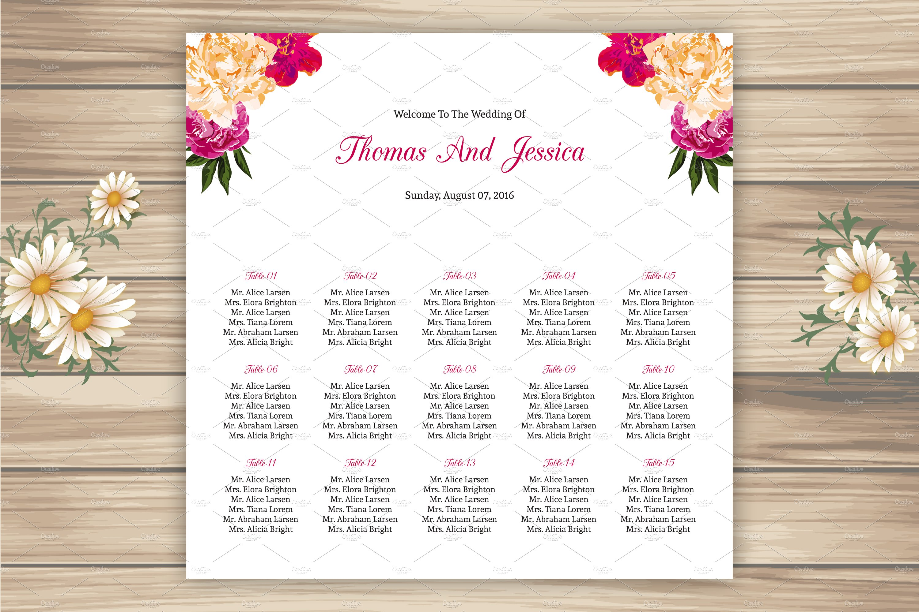 Wedding seating chart template stationery templates creative wedding seating chart template stationery templates creative market junglespirit Images