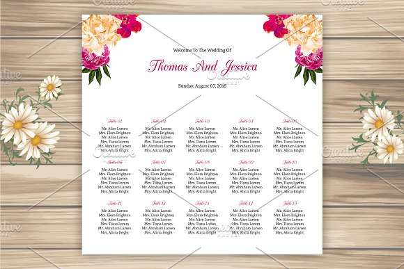 wedding seating chart template stationery templates creative market