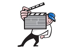 Director With Movie Clapboard Cartoo