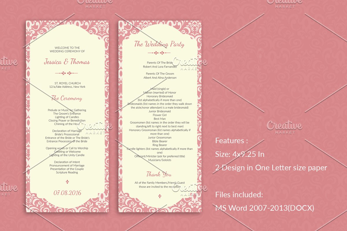 Wedding Ceremony Program.Elegant Wedding Program Template