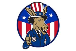 Democrat Donkey Mascot Thumbs Up