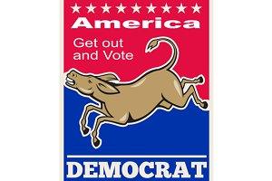 Democrat Donkey Mascot America Vote