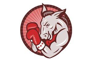 Democrat Donkey Mascot Boxer Boxing