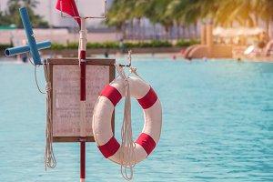 lifebuoy near public swimming pool