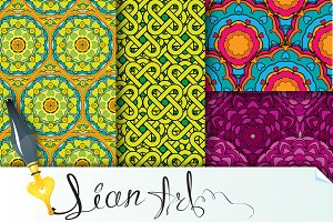 Set of  4 colorful seamless patterns