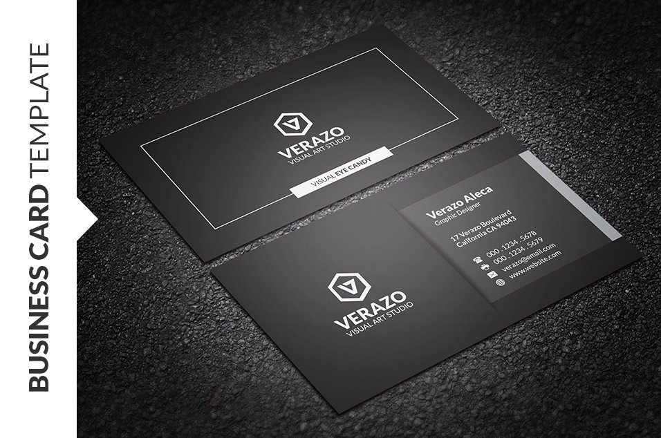 Modern black white business card business card for Business card template black