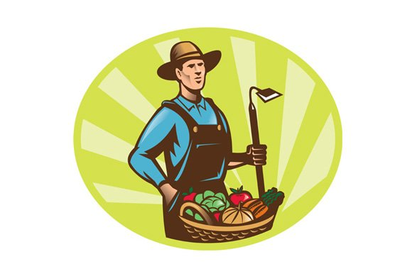 Farmer With Garden Hoe And Basket
