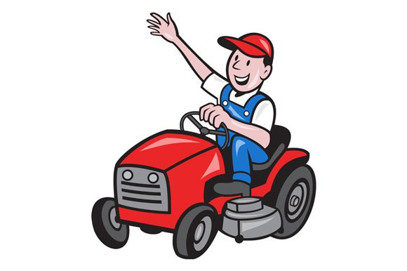 Farmer Driving Ride On Mower Tractor in Illustrations