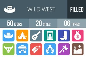 50 Wild West Flat Round Corner Icons