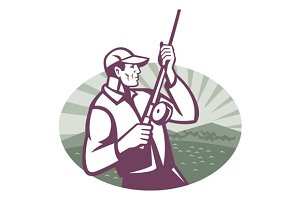 Fly Fisherman Fishing Retro Woodcut