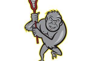 Gorilla Ape With Lacrosse Stick