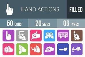 50 Hand Flat Round Corner Icons