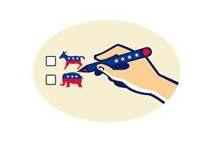 Hand Holding Pen Voting American