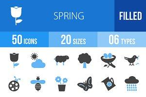 50 Spring Blue & Black Icons