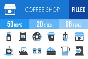 50 Coffee Shop Blue & Black Icons