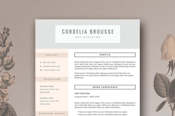 Cover Letter Templates: Botanica Paperie - Resume Template & Cover Letter