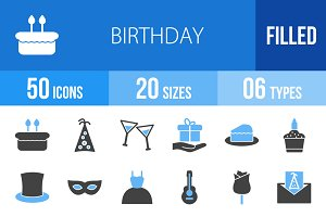 50 Birthday Blue & Black Icons