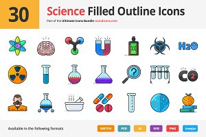 30 Science Filled Outline Icons