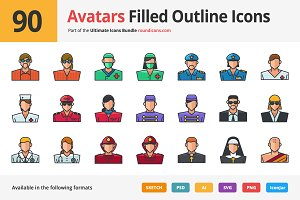90 Avatars Filled Outline Icons