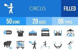 50 Circus Blue & Black Icons