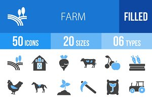 50 Farm Blue & Black Icons