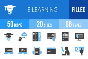 50 E Learning Blue & Black Icons