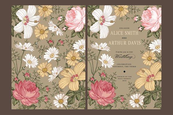 Wedding Flowers Rose Card Frame Set