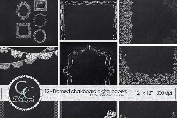 Chalkboard Frame Papers 12 Digital Custom Designed Graphic Patterns Creative Market