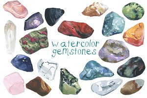 Watercolor Gemstones