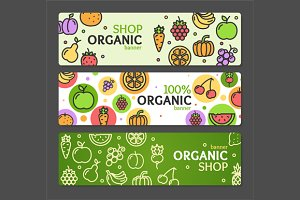 Eco Shop Banner Horizontal Set.