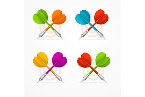 Color Darts Set. Vector