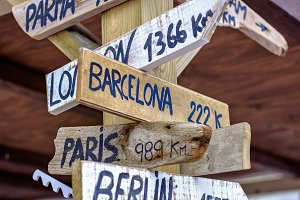 World directions, wooden signpost