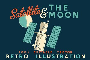 Satellite & The Moon Retro Vector