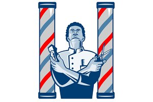 Barber With Pole Hair Clipper Scisso