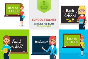 School Teacher Vector Concepts