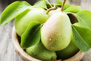 Green fresh pears