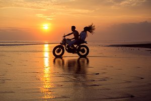 couple on motorcycle