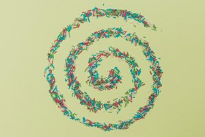 spiral with confetti