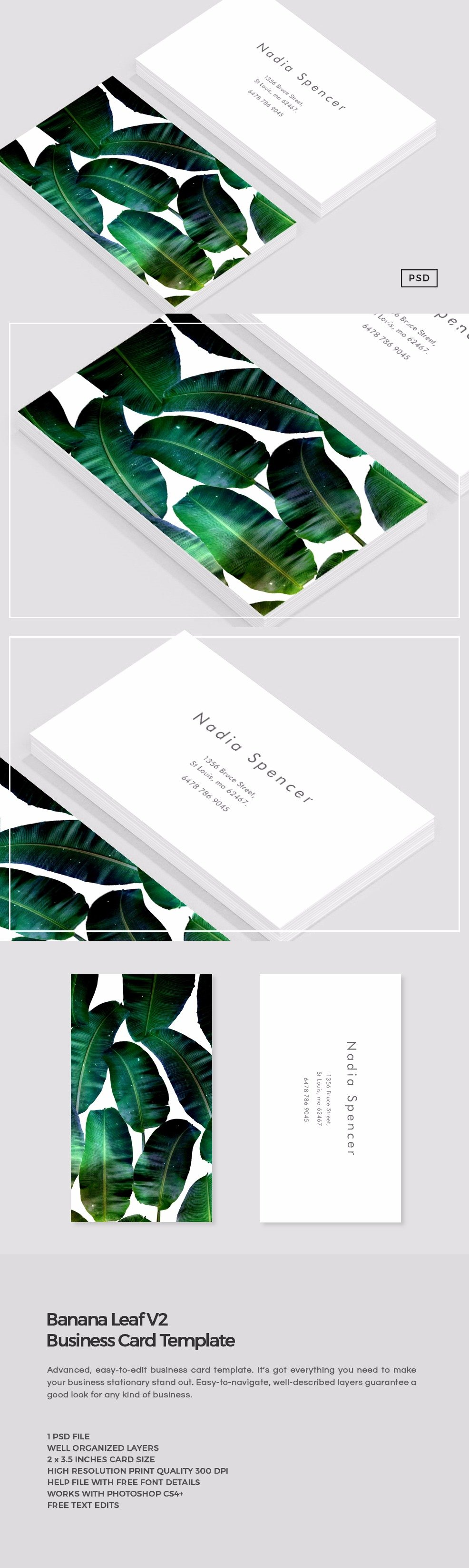 Banana Leaf Business Card Template ~ Business Card Templates ...