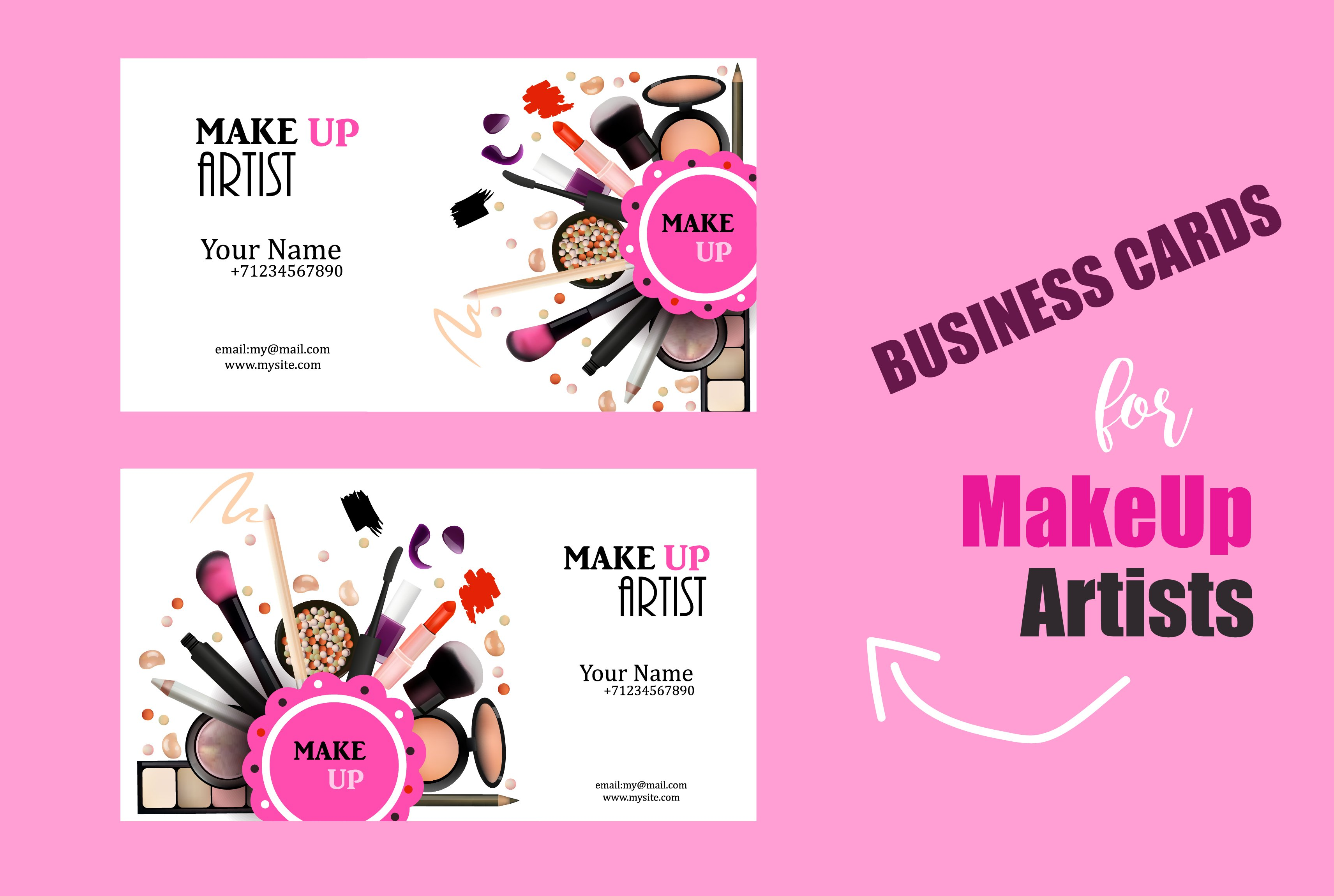 Set of makeup artist business card card templates creative market makeup artist business card alramifo Image collections