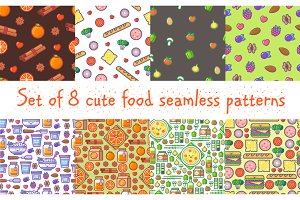 Set of 8 food patterns