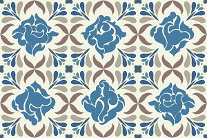 Seamless TILE classic pattern. Blue.