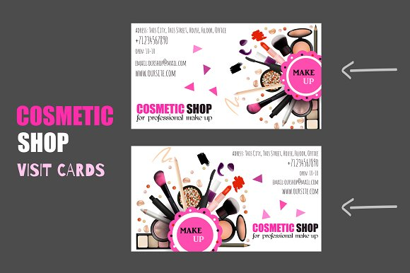 Cosmetic shop card business card templates creative market colourmoves