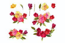 №146 flowers rose red yellow