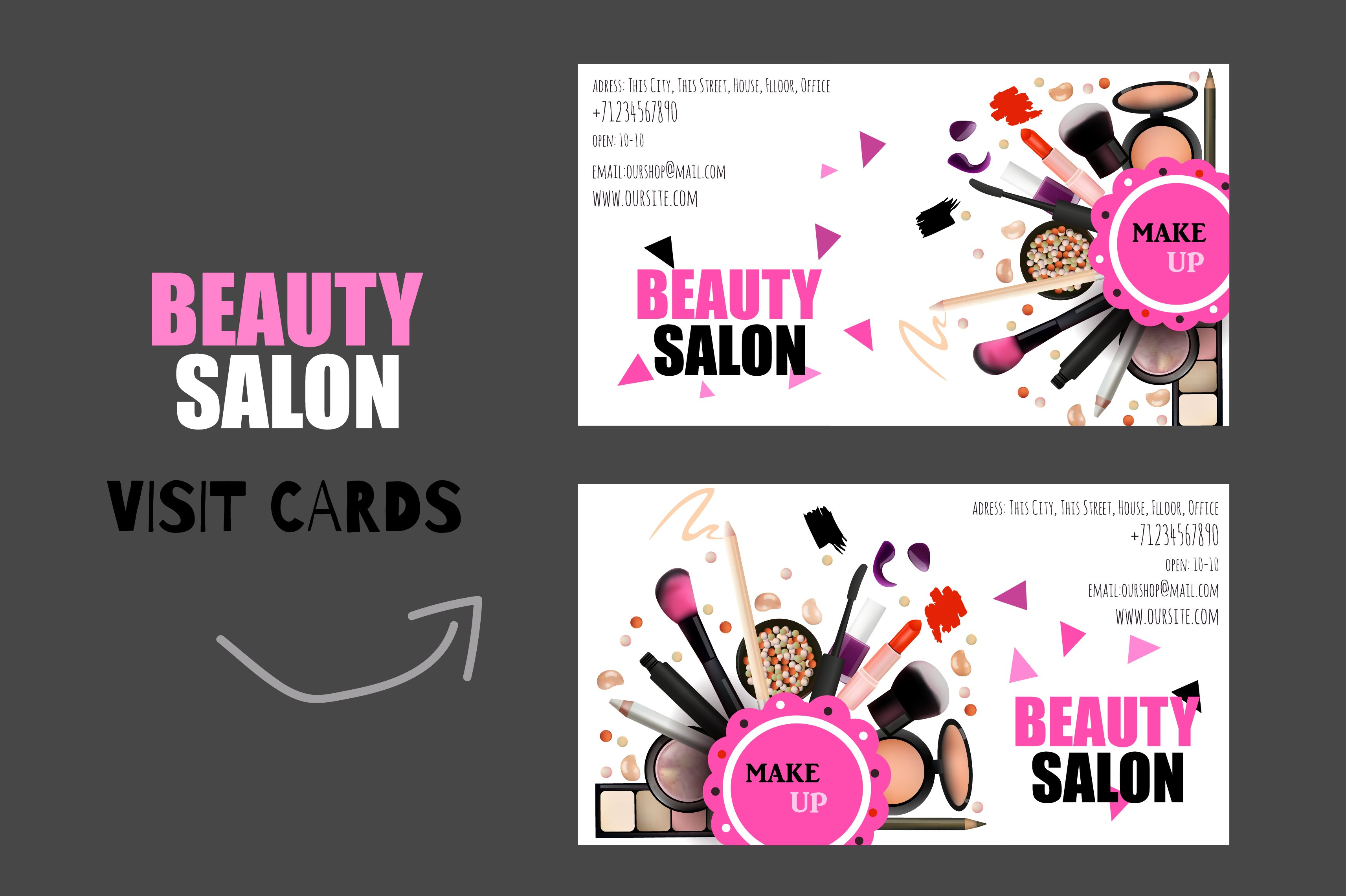 Beauty salon card business card templates creative market - Beauty salon business ...